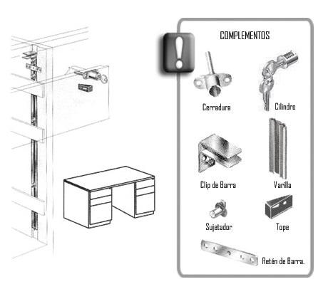 Sistema de cerradura para cajonera frontal herrajes bralle for Cerradura para cajon