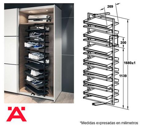 Zapatera giratoria herrajes bralle for Zapateras para closet