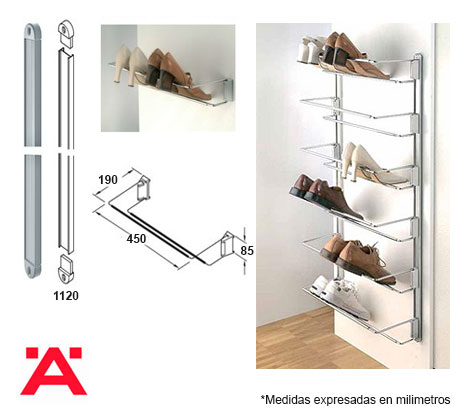Zapatera ajustable a pared herrajes bralle for Zapatera giratoria para closet
