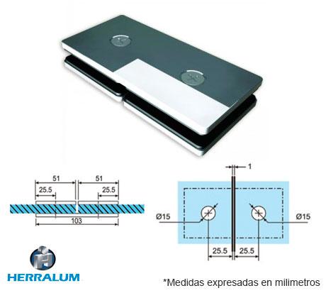 Conector recto vidrio a vidrio 180 grados herrajes bralle for Puertas 180 grados