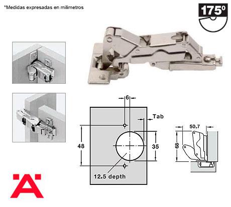 Bisagra con angulo de 175 hafele herrajes bralle - Como instalar una bisagra de 180 grados ...