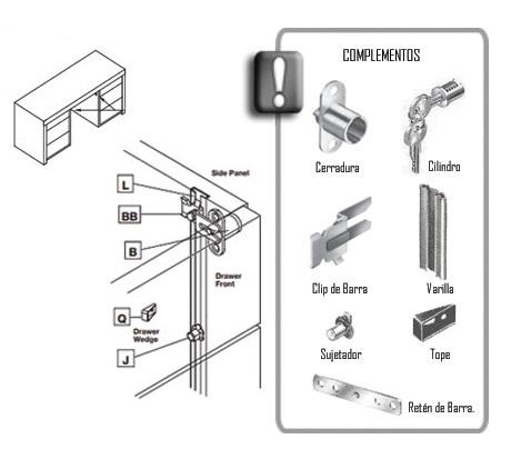 Sistema de cerradura para cajonera lateral herrajes bralle for Cerradura para cajon